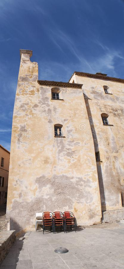 Calvi, Citadel, cathedral, ancient walls, skyline, Corsica, Corse, France, Europe, island. Corsica, 03/09/2017: view of the Calvi Cathedral, dedicated to Saint royalty free stock photography