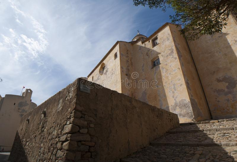 Calvi, Citadel, cathedral, ancient walls, skyline, Corsica, Corse, France, Europe, island. Corsica, 03/09/2017: view of the Calvi Cathedral, dedicated to Saint royalty free stock photos