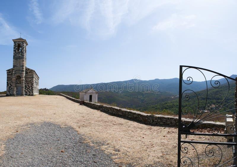 San Michele de Murato, church, Murato, Haute-Corse, Corsica, France, island, Europe. Corsica, 29/08/2017: view of the Church of San Michele de Murato, a small royalty free stock images