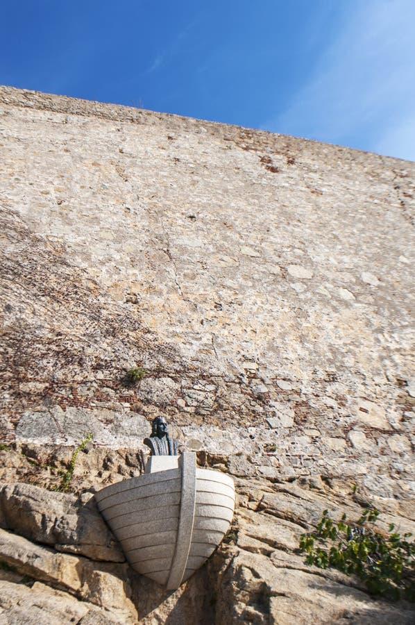 Calvi, Christopher Columbus, Citadel, ancient walls, skyline, Corsica, Corse, France, Europe, island. Corsica, 01/09/2017: view of the commemorative monument of stock image