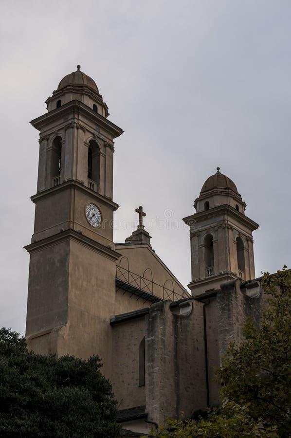 Bastia, Corsica, Cap Corse, skyline, church, Saint John the Baptist, ancient. Corsica, 03/09/2017: view of the parish church of Saint John the Baptist, the stock image