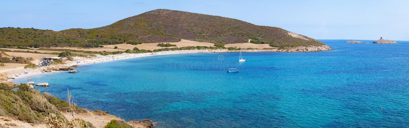 Corsica, Corse, Cap Corse, Upper Corse, France, Europe, island. Corsica, 28/08/2017: view of Plage de Tamarone, Tamarone beach, one of the most famous and wild royalty free stock photography