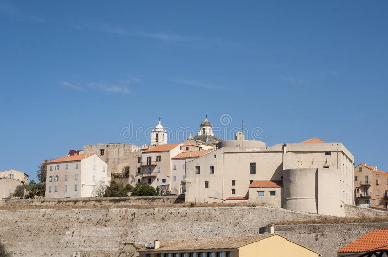 Calvi, Citadel, ancient walls, skyline, Corsica, Corse, France, Europe, island. Corsica, 03/09/2017: view of the skyline of the ancient Citadel of Calvi, famous royalty free stock images