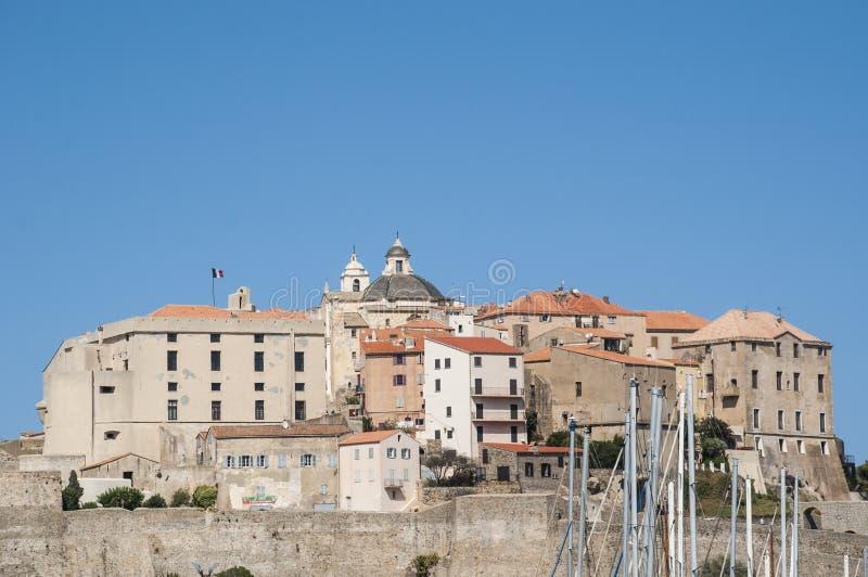 Calvi, Citadel, ancient walls, skyline, Corsica, Corse, France, Europe, island. Corsica, 03/09/2017: view of the skyline of the ancient Citadel of Calvi, famous stock images