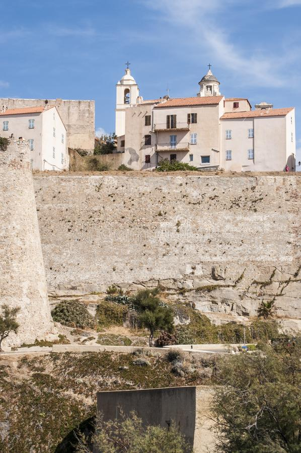 Calvi, Citadel, ancient walls, skyline, Corsica, Corse, France, Europe, island. Corsica, 03/09/2017: view of the skyline of the ancient Citadel of Calvi, famous stock image