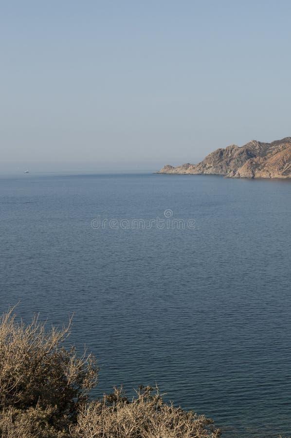 Corsica, wild landscape, beach, Cap Corse, Haute Corse, Upper Corse, France, Europe. Corsica, 30/08/2017: the skyline and the wild landscape of the western stock photos
