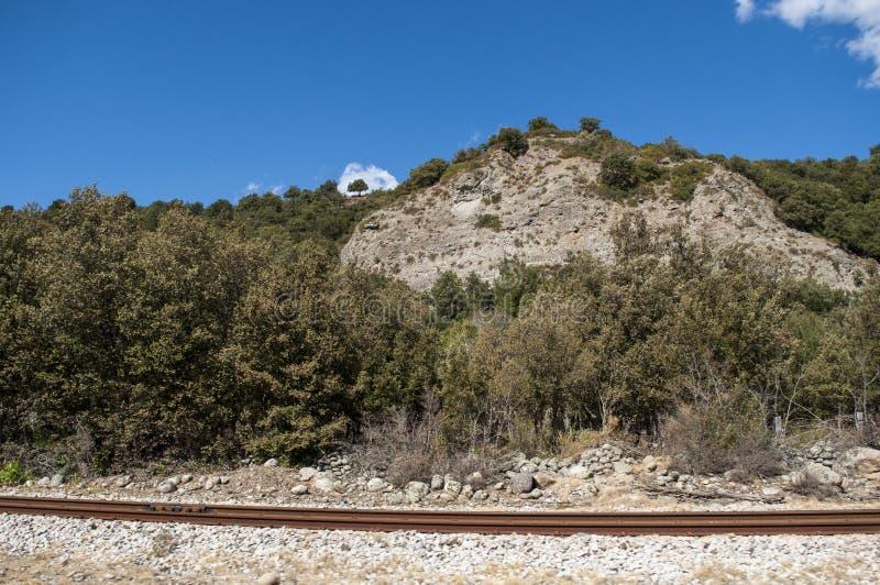 Corsica, train tracks, Haute Corse, Upper Corse, France, Europe, Haut Asco, Asco Valley, High Center of Corsica, island. Corsica, 31/08/2017: the wild landscape royalty free stock photography