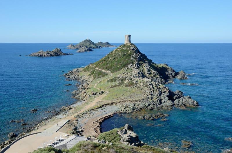 Corsicaanse kust met de beroemde Bloedige Eilanden royalty-vrije stock foto's