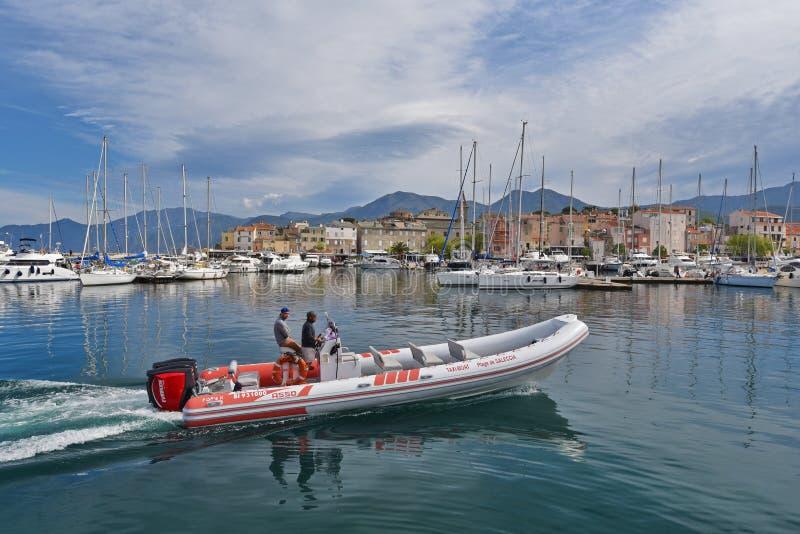 Corsican port Saint-Florent stock photo
