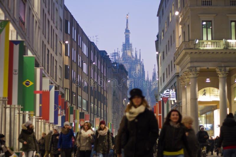 Corso Vittorio Emanuele στο Μιλάνο στοκ εικόνες
