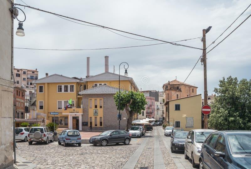Oliena village, Nuoro Province, island Sardinia, Italy. The street Corso Vittorio Emanuele II, Piazza Moro. stock photos