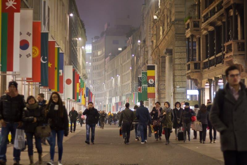 Corso Vittorio Emanuele in Milaan royalty-vrije stock afbeeldingen