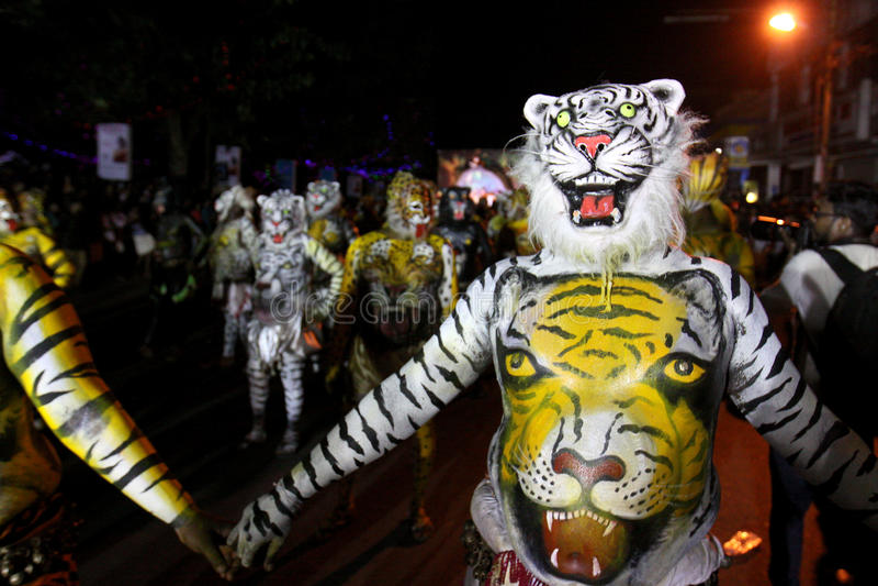 Cortège de danse de tigre photo stock