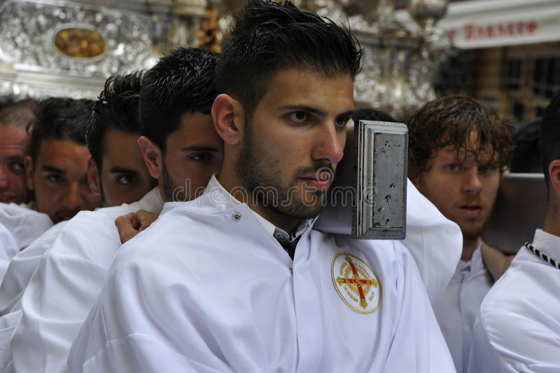 Cortège de Pâques à Malaga, Espagne photographie stock libre de droits