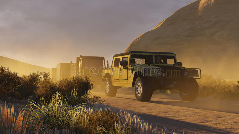 Cortège de voitures militaire sur un Canyon Road 2 illustration de vecteur