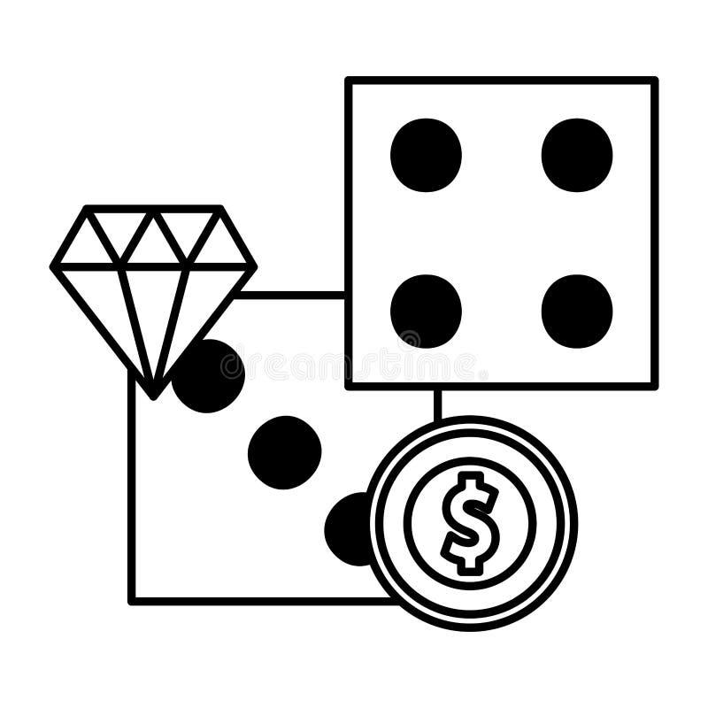 Corta a aposta do jogo do casino do diamante do dinheiro da moeda ilustração do vetor