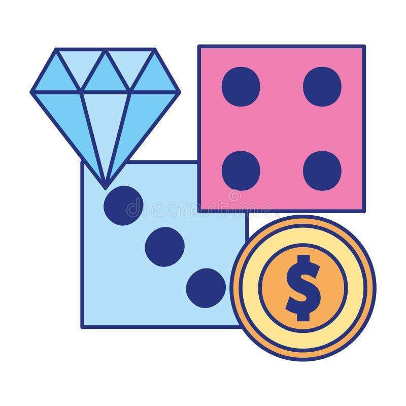 Corta a aposta do jogo do casino do diamante do dinheiro da moeda ilustração royalty free