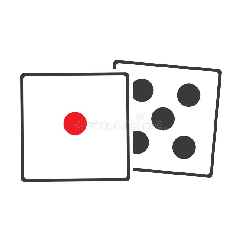 Corta o ?cone do sinal S?mbolo do jogo do casino Ícone liso dos dados Botão redondo com vetor liso do ícone do jogo ilustração royalty free