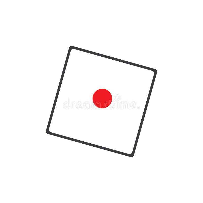 Corta o ?cone do sinal S?mbolo do jogo do casino Ícone liso dos dados Botão redondo com vetor liso do ícone do jogo ilustração stock