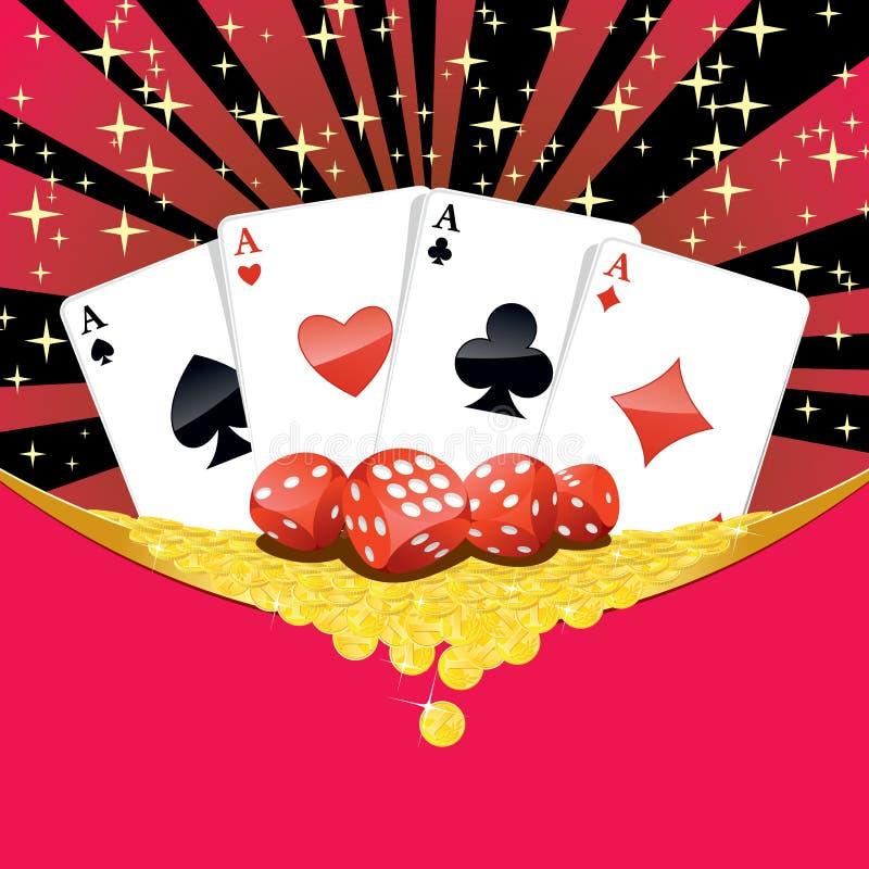 Corta, os cartões de jogo e as moedas douradas de queda que jogam o fundo ilustração stock