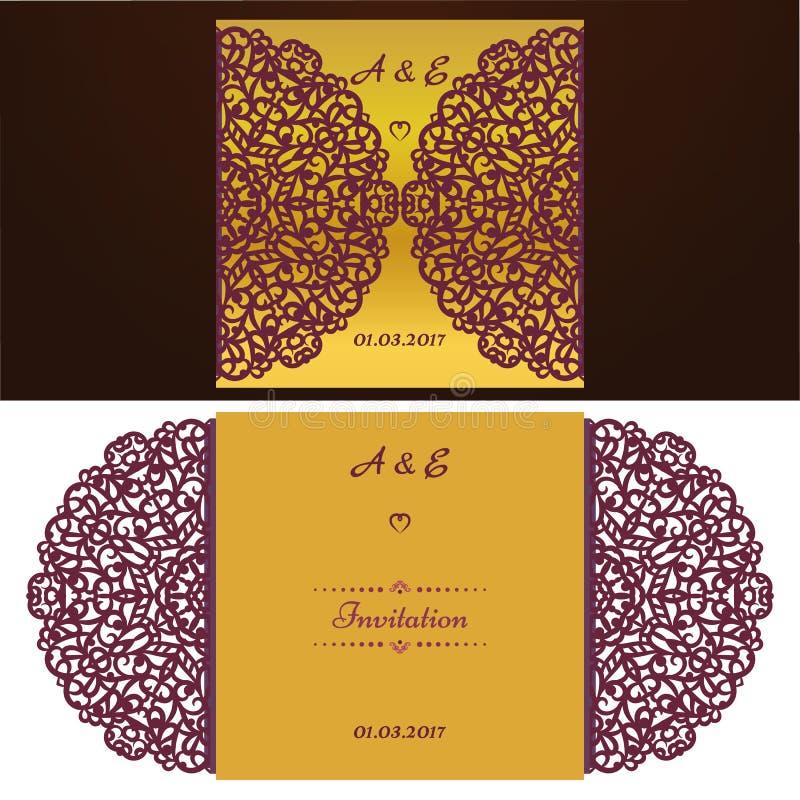 Cortado con tintas casandose la plantilla de la tarjeta de la invitación Tarjeta cortada papel con el cordón Tarjeta hermosa de l stock de ilustración