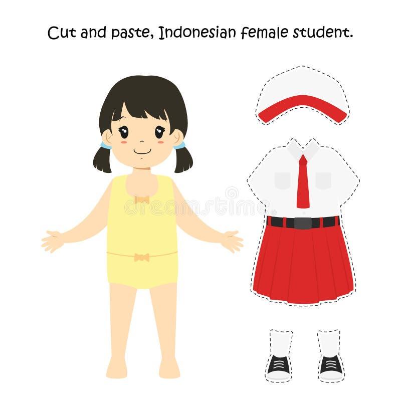 Cortado e colado, estudante fêmea indonésio Uniform Vetora ilustração do vetor