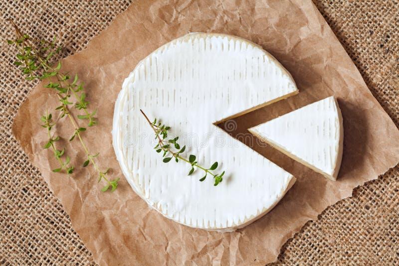 Cortado em volta do leite tradicional do queijo do camembert foto de stock