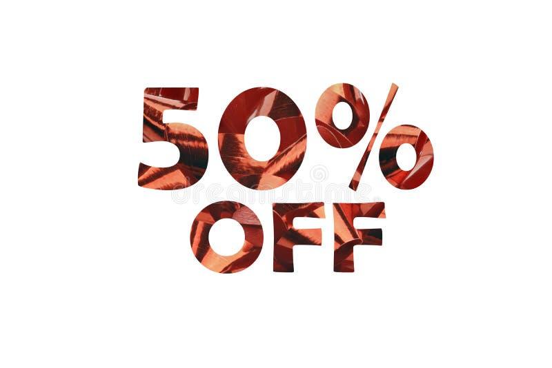 50% cortado fora - de uma representação simbólica do desconto de 50% fotografia de stock