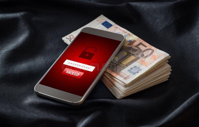 cortado Segurança do Cyber e conceito de corte móvel foto de stock royalty free
