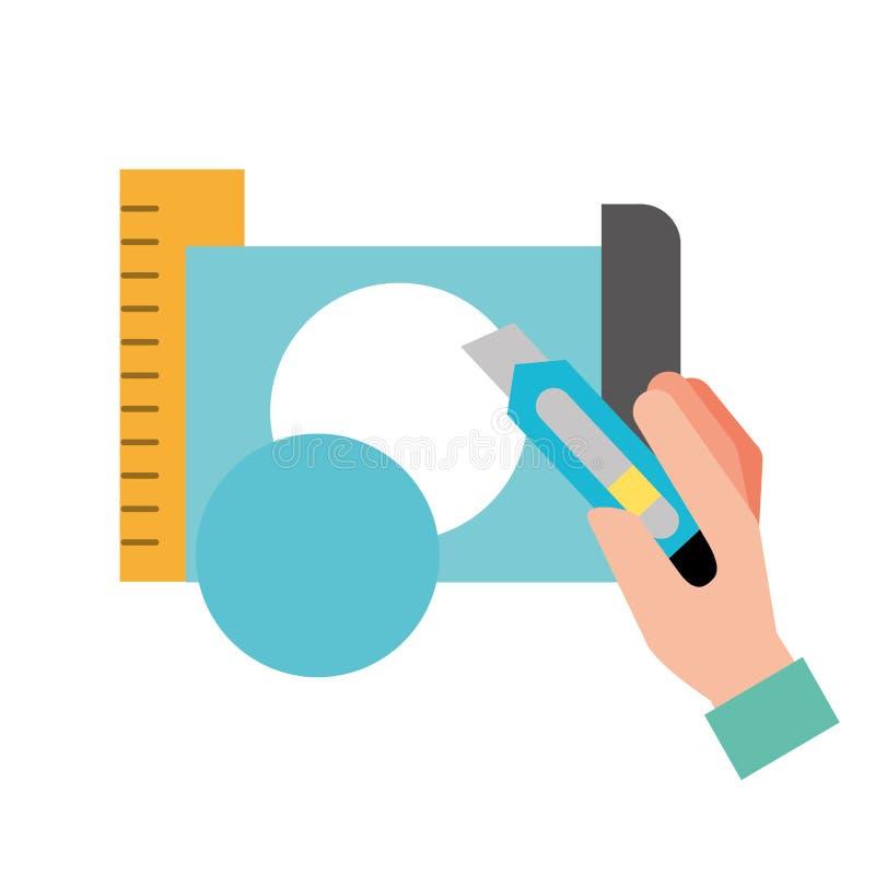 Cortador de la tenencia de la mano que hace el círculo con el papel ilustración del vector