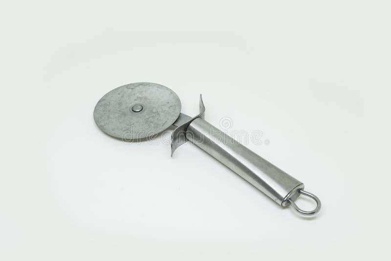 Cortador de plata de la pizza fotografía de archivo libre de regalías