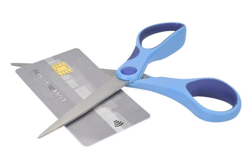 Cortando acima o cartão de crédito com tesouras fotos de stock