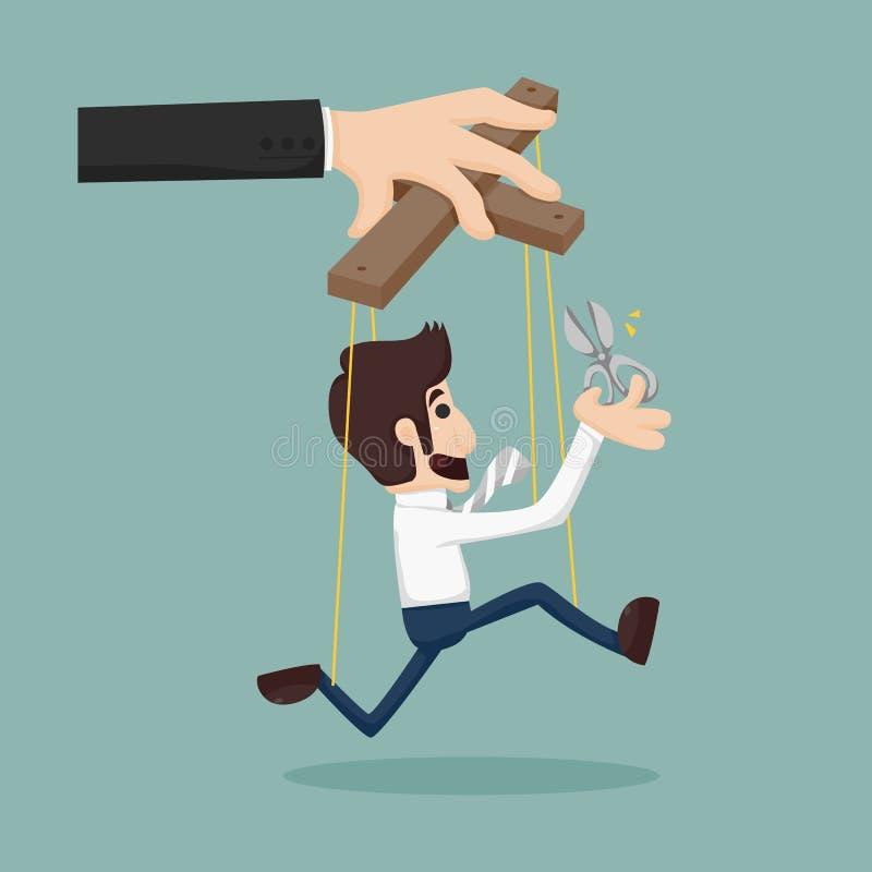 Cortando as cordas de um fantoche do homem de negócio, dando lhe a liberdade ilustração royalty free