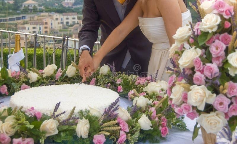 Cortando o bolo de casamento imagens de stock