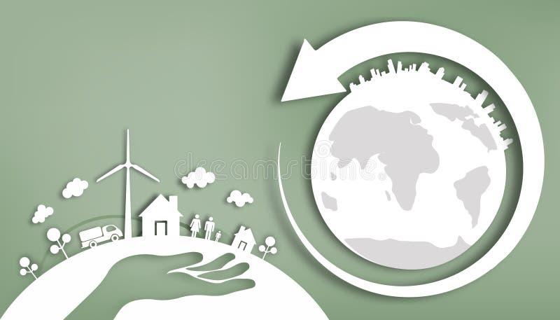 Cortando o papel - mãos que limpam a energia e a energia renovável natural - ame a economia de energias mundiais ilustração royalty free