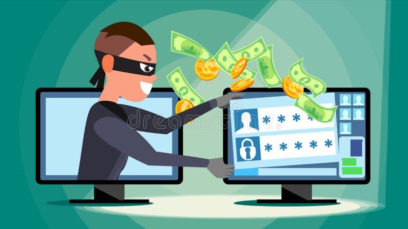 Cortando o vetor do conceito Hacker que usa o computador pessoal que rouba a informação do cartão de crédito, dados pessoais, din ilustração do vetor