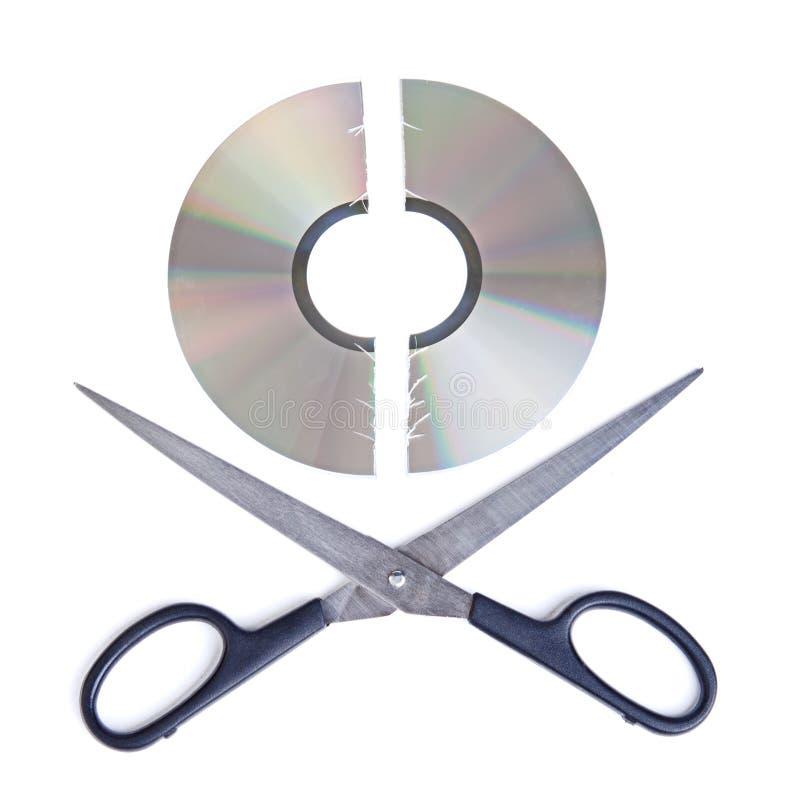 Cortar el CD fotografía de archivo