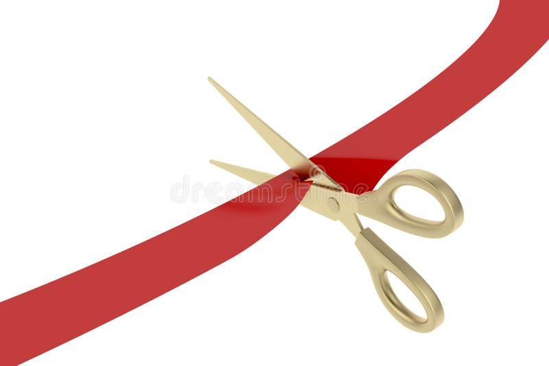 Cortar la cinta roja ilustración del vector