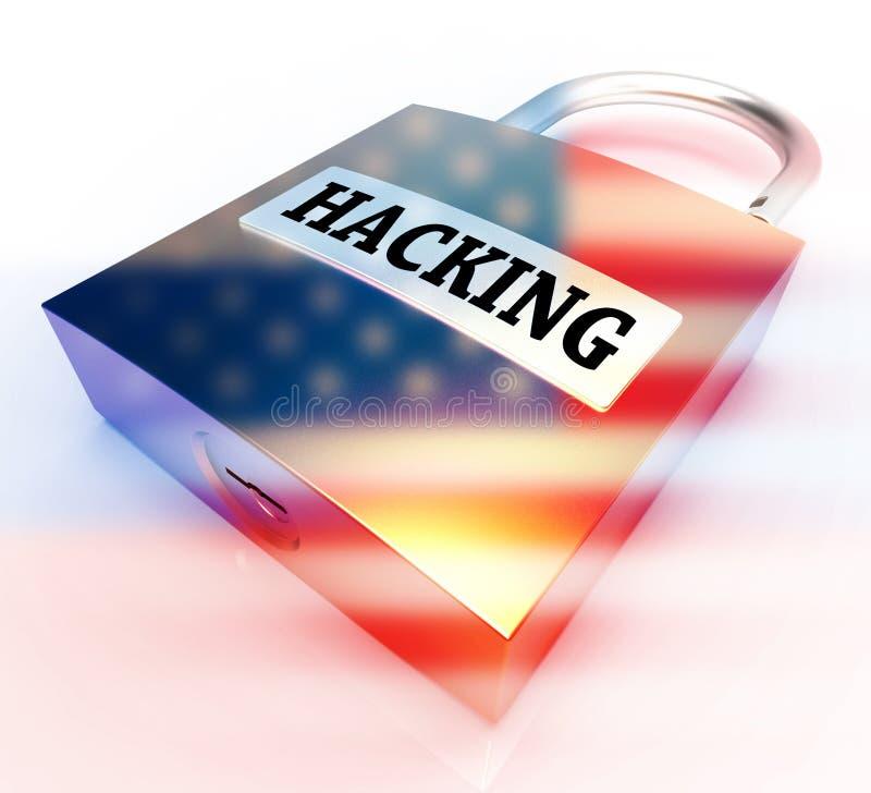 Cortar o cadeado com bandeira mostra a ilustração 3d cortada ilustração do vetor