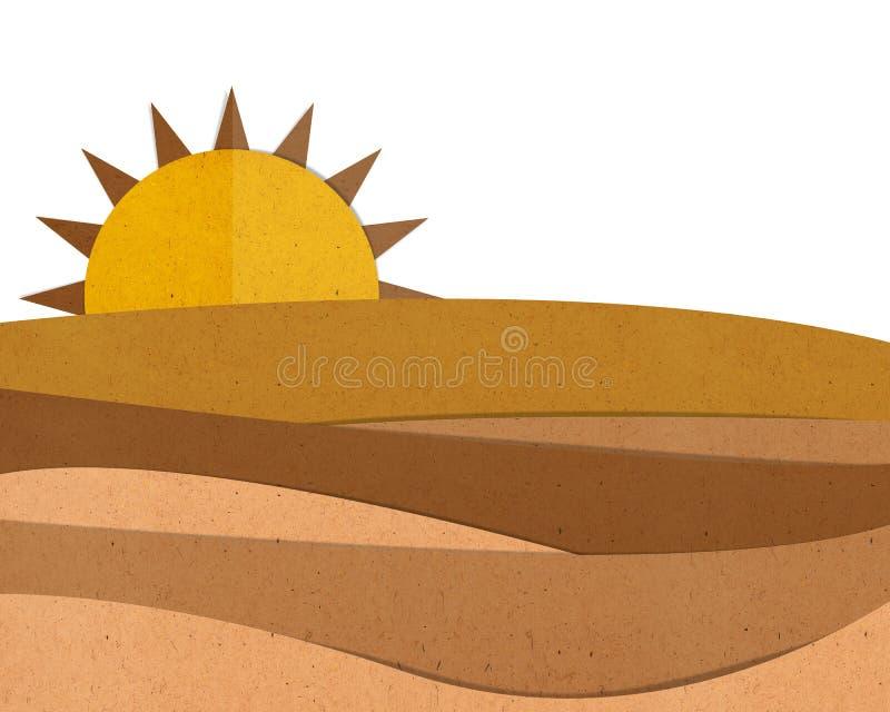 Cortar y pegar del papel del desierto ilustración del vector