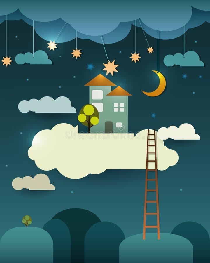 Corte abstrato do papel, casa doce home da fantasia, lua com estrela-nuvem e céu na noite Nuvem vazia para seu projeto do texto ilustração royalty free