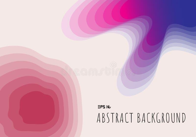 Corte abstrato do papel da topografia 3D geométrico com inclinação no fundo e na textura azuis e cor-de-rosa ilustração stock