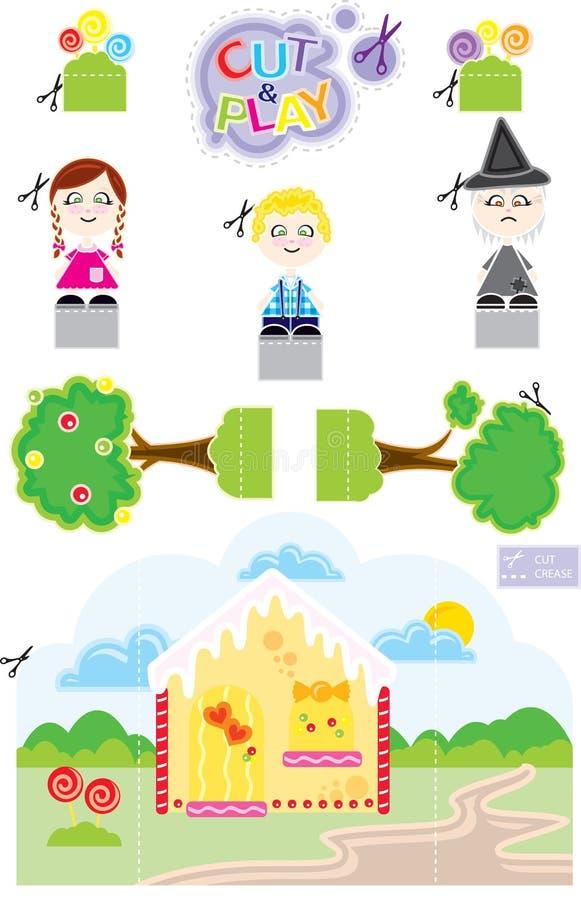 Corte & jogo de João e Maria ilustração royalty free