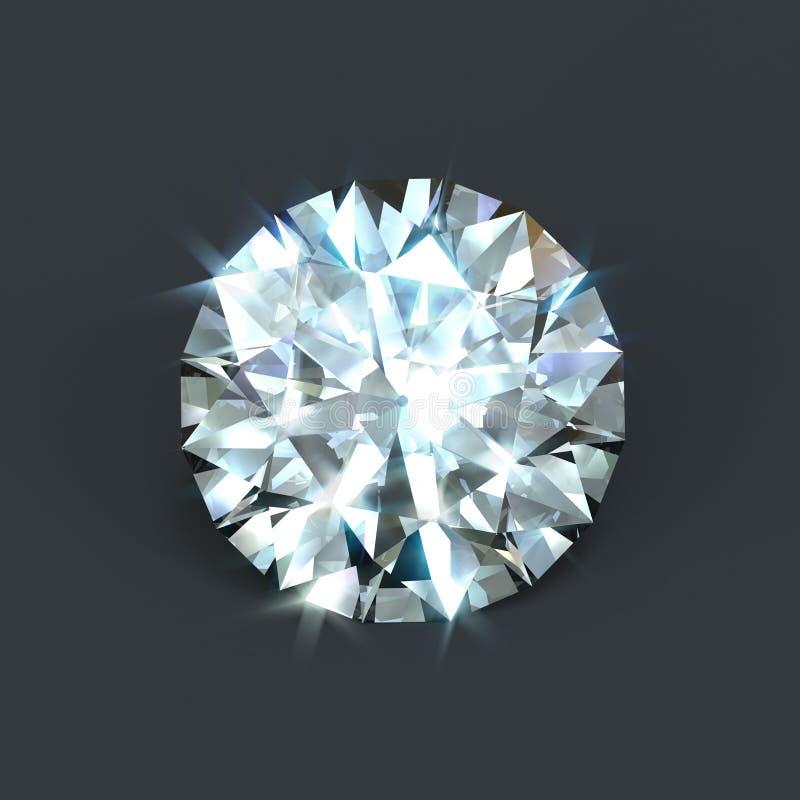 Corte brillante aislado del diamante stock de ilustración