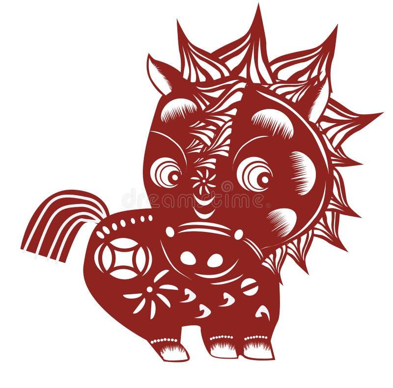 Corte chinês do papel do cavalo ilustração do vetor