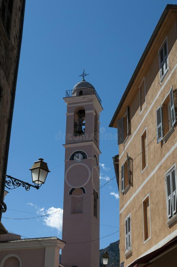Corte, Citadel, Annunciation Church, Corsica, Corse, Cap Corse, Upper Corse, France, Europe. Corsica, 31/08/2017: the skyline of the Citadel of Corte, village of royalty free stock photography