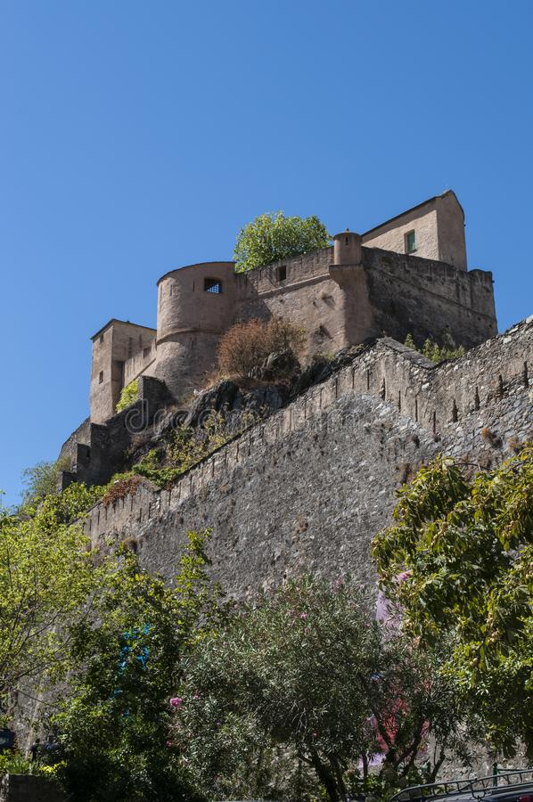 Corte, Citadel, perched, Corsica, Corse, Cap Corse, Upper Corse, France, Europe. Corsica, 31/08/2017: skyline and panoramic view of the perched Citadel of Corte royalty free stock images
