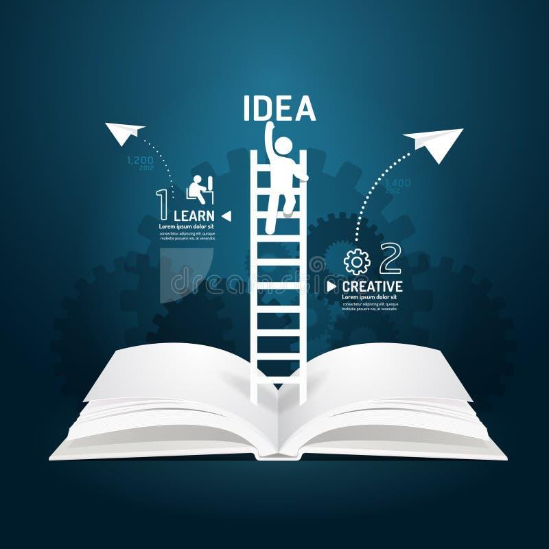 Corte creativo del papel del diagrama del libro de la escalera de Infographic que sube. ilustración del vector