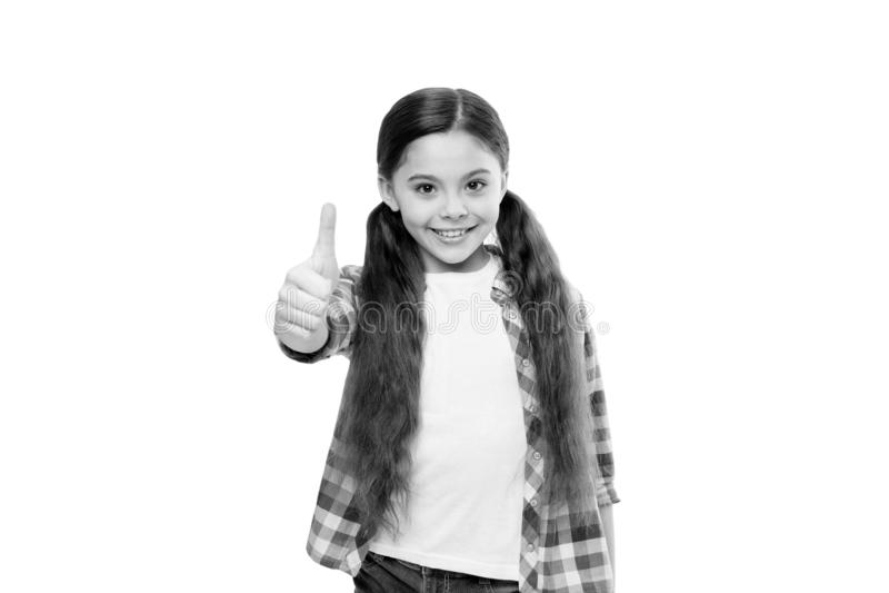 Corte crescente da vida do cabelo Como crescer mais rapidamente o cabelo Cabelo realmente longo pequeno da criança da menina Sal? fotos de stock royalty free