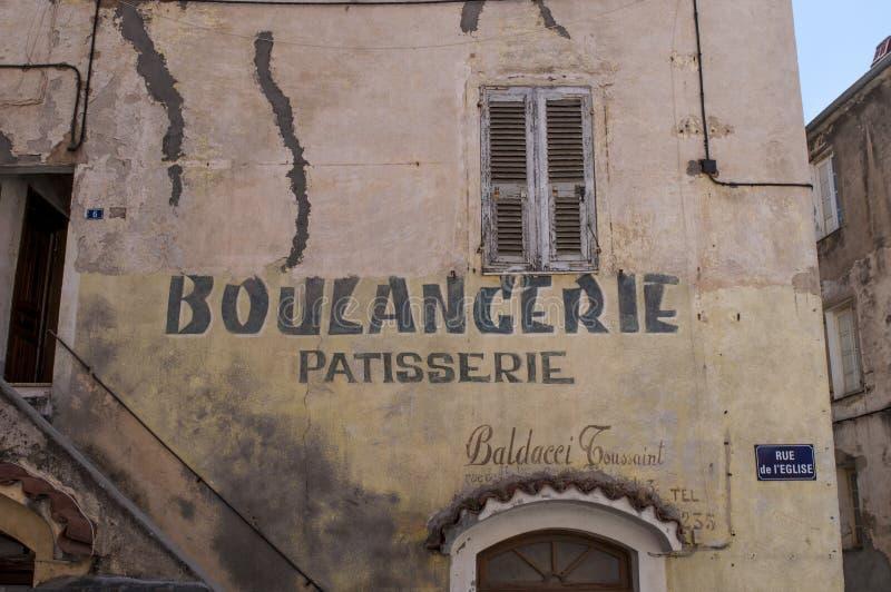 Corte, cytadela, piekarnia, boulangerie, Corsica, Corse, nakrętka Corse, Górny Corse, Francja, Europa zdjęcie stock